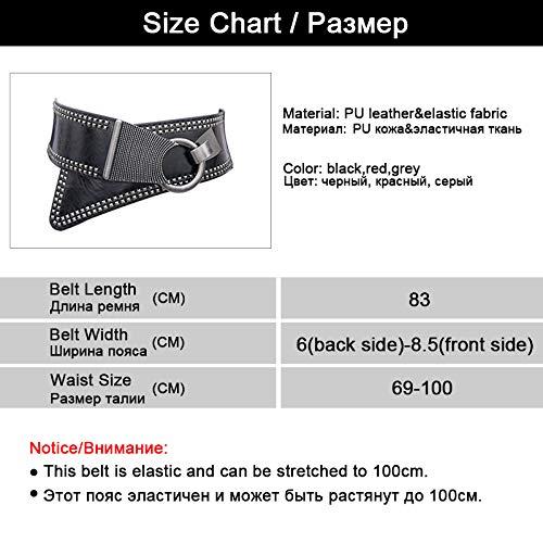 Cinture Fashion Accessori European Rocker Black Con Elastic In Style Per Zxmnsyd Metallo Rotonda Donna Wide Belt Abbigliamento Fibbia Women SqtEnR