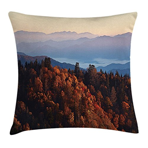 (Queolszi National Parks Home Decor Throw Pillow Cushion Cover, Sunrise at Mountains Pine Trees Covered on Hill Mist South Carolina, Decorative Square Accent Pillow Case, 26 X 26 Inchess,)