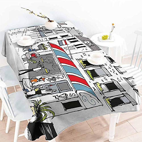 Homrkey Elegance Engineered Tablecloth Paris Decor Drawing of a Street in Paris A Cafe and The Street Lamp Illustration Print White and Grey Soft and Smooth Surface W52 xL70