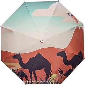 Three-fold VinylCompact Automatic Umbrella UV Protection Parasol Umbrella Various Patterns (Color : Desert Camel)