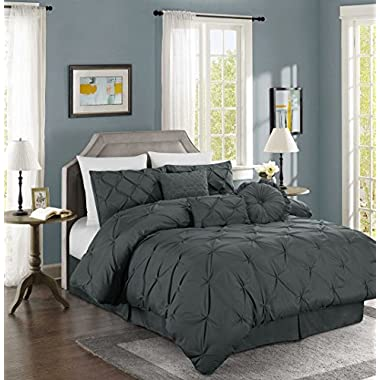 Chezmoi Collection Sydney 7-piece Pintuck Bedding Comforter Set (Queen, Charcoal)