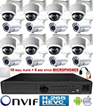 USG H.265 4MP Ultra 4K 16 Camera Security System PoE IP CCTV Kit: 8x H.265 4MP IP PoE 2.8-12mm Lens Dome + 8x 5-50mm Bullet Cameras + 1x H.265 5MP 24 Channel NVR + 2x 6TB HDD + 16x Microphones