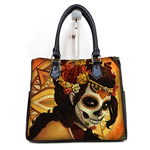 [Fashion Ladies Girl Barrel Type Handbgas Top-Handle Bags Day of the Dead Mask Print] (Day Of The Dead Female Mask)