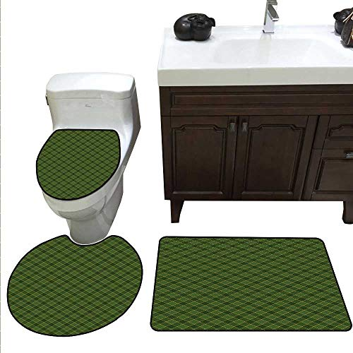 Green Bathroom Rug Set Traditional Old Fashioned Argyle Pattern Retro Style Plaid bathmat Toilet mat Set Hunter Green Forest Green Yellow