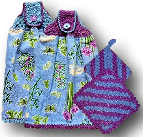 Herb Garden Floral Theme Hanging Kitchen Terry Towels. Coordinating dishcloth and potholder also available.