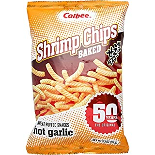 Calbee Shrimp Chips (Hot Garlic, 3.3 Ounce (Pack of 6))