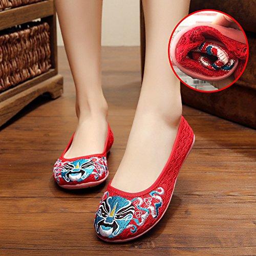 WXT Zapatos bordados, lino, lenguado del tendón, estilo étnico, hembra, manera, cómodo, zapatos netos del hilado Red