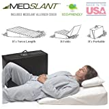 """Wedge Pillow for Acid Reflux (32""""x24""""x7"""") with Allergen Cover - Folding Pillow includes a Fitted Allergen Barrier Cover, Zippered Poly-Cotton Folding Cover and Quality Carry Case. Recommended by Dr. Mike Roizen as a Reflux and Snoring Solution"""
