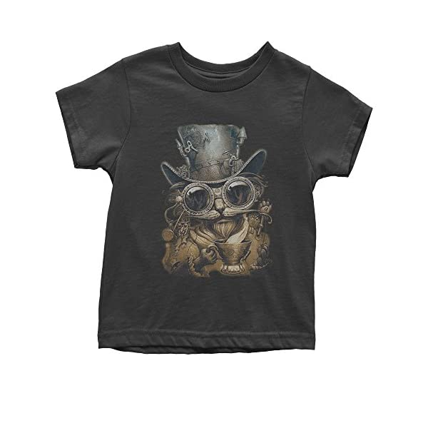 Expression Tees Steampunk Cat with Top Hat Youth T-Shirt 3