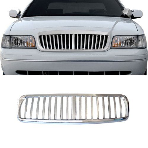 VIOJI 1pc Chrome Strong ABS Plastic Badgeless Vertical Style Front Main Upper Grille Fit 98-11 Ford Crown Victoria All Models