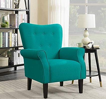 Amazon.com: Belleze Modern Accent Chair Roll Arm Linen Living Room ...