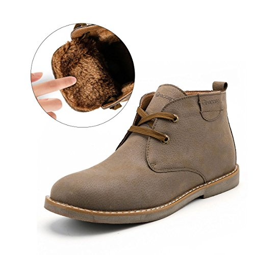 Desert Boot for Men, Gracosy Winter Chukka Boot Lace Up Ankle Boots Fashion Casual Shoes Khaki 10.5 D(M)US