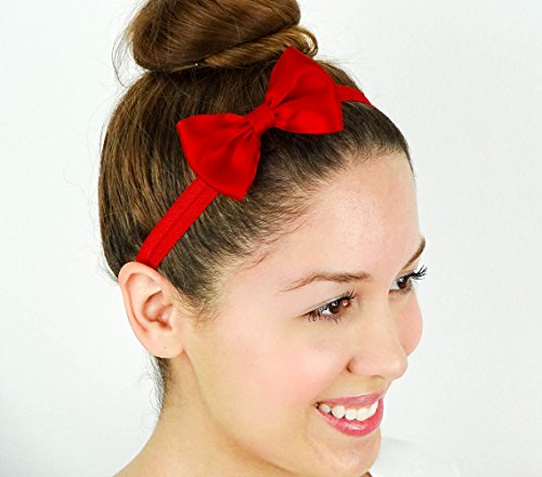 Snow White Inspired Red Hair Bow Stretchy Headband Soft Fold Over Elastic Hair Accessory Handmade by Sweet In The City