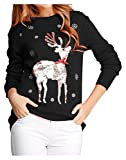 v28 Ugly Christmas Sweater, Women Girls Cute Shining Reindeer Pullover Sweater