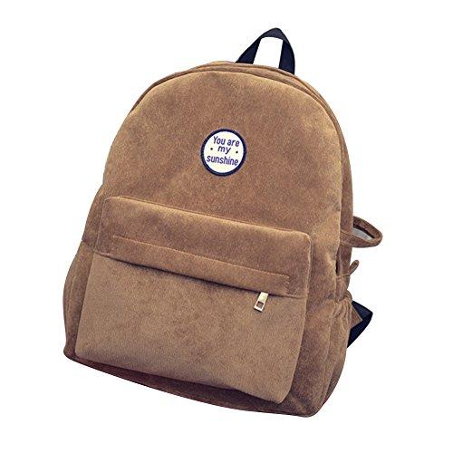Afco Vintage Corduroy Backpack Rucksack Travel Bag School Bag Computers Laptop Backpack (Khaki)