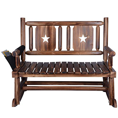 Outdoor Rocking Chair (Double) - Porch Rustic Rocker with Armrest Storage Bag - Brown (Furniture Solid Wood Outdoor)
