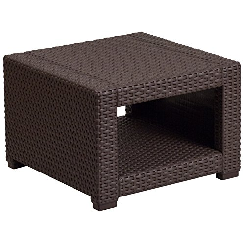 Flash Furniture Chocolate Brown Faux Rattan End Table by Flash Furniture