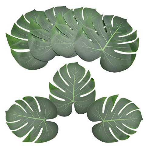 OBANGONG 48 Pcs Large Tropical Leaves Artificial Simulation Tropical Palm Monstera Plant Leaves for Hawaiian Luau Safari Party Jungle Beach Theme BBQ Decoration by OBANGONG