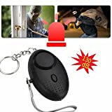 Hangang Siren Song Alarm Keychain for Women Kids,130dB,Personal Alarm Keychain SoS with Led Light 3 Pack (Black)