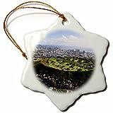 3dRose Punchbowl Cemetery, Honolulu, Oahu, Hawaii, USA US12 DPB2753 Douglas Peebles Snowflake Ornament, Porcelain, 3''