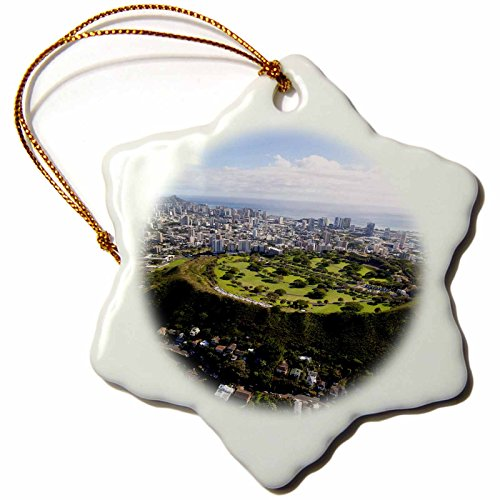 3dRose Punchbowl Cemetery, Honolulu, Oahu, Hawaii, USA US12 DPB2753 Douglas Peebles Snowflake Ornament, Porcelain, 3'' by 3dRose