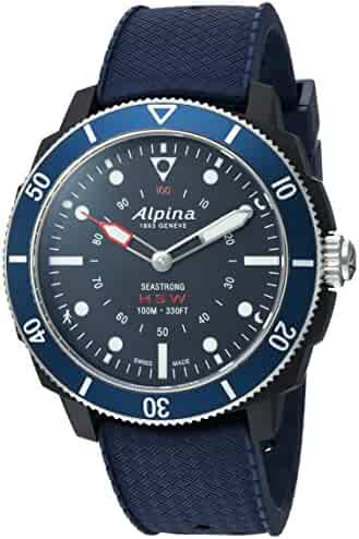 Alpina Men's 'Horological' Quartz Stainless Steel and Rubber Smart Watch, Color Blue (Model: AL-282LNN4V6)