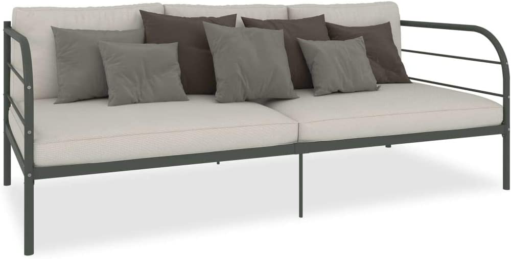 Cikonielf - Sofá de cama de metal 207 x 96 x 72 cm – Se utiliza como cama o sofá para invitados – con reposabrazos redondo – gris