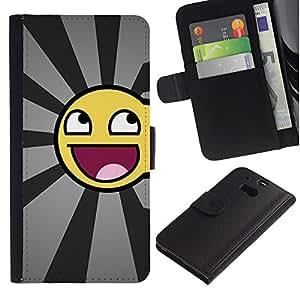 ZONECELL ( No Para HTC ONE Mini 2) Imagen Frontal Negro Cuero Tarjeta Ranura Trasera Funda Carcasa Diseño Tapa Cover Skin Protectora Case Para HTC One M8 - smiley impresionante divertido