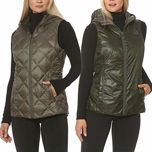 Gerry Women's Reversible Hooded Down Vest (Small, Olive/Camo)