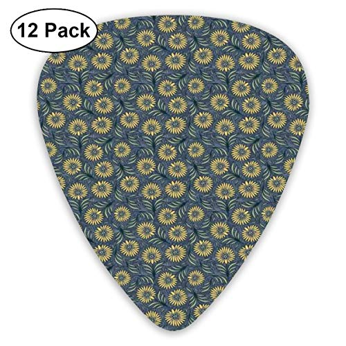 - Guitar Picks - Abstract Art Colorful Designs,Blooming Nature Pattern With Fresh Green Foliage Leaves Coming Of The Spring Theme,Unique Guitar Gift,For Bass Electric & Acoustic Guitars-12 Pack