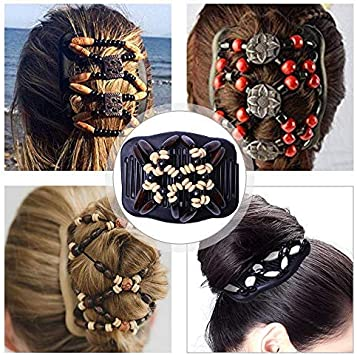 Magic Double Hair Clip Comb Womdee African Butterfly Hair Clip Magic Comb Double Row Wooden Bead Hair Comb Stretchy Hair Styling Combs Clip Imitation Wood Hair Decor For Women Girls Creative Gift Amazon Co Uk Beauty