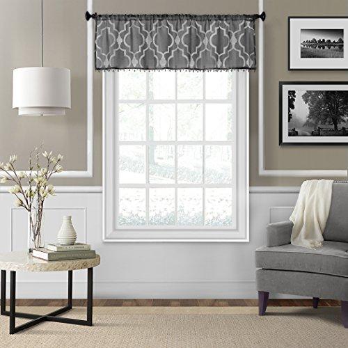 Elrene Home Fashions 21195BLK Montego Sheer Beaded Window Valance, 52