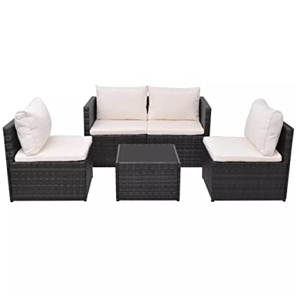 HomeDecor Outdoor Patio Black Rattan Wicker Sectional Sofa Couch Seat Set,  4 Pieces