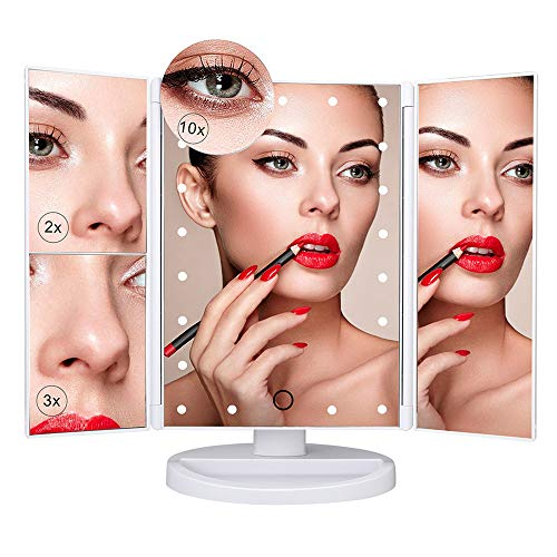 AMMIY Vanity Makeup Mirror 1x/2x/3x/10x Magnification 21 LED Lights Touch Screen Switch - Bathroom Bath And Mirrors Bed Vanity Beyond