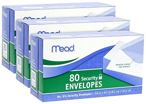 Meadwestvaco Security Envelopes - Mead #75212 80CT #6 White Envelope (3pack)