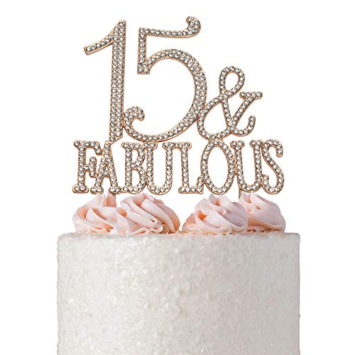 15 and Fabulous Quinceañera Birthday Cake Topper | ROSE GOLD | Premium Bling Crystal Rhinestone Diamond Gems | 15th Birthday Anniversary Party Decoration Ideas | Quality Metal Alloy | Perfect Keepsake