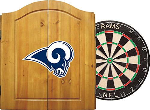 Imperial Officially Licensed NFL Merchandise: Dart Cabinet Set with Steel Tip Bristle Dartboard and Darts, Los Angeles Rams by Imperial