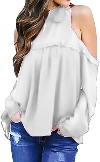 Camisas Mujer Elegantes Camisa De Gasa Manga Larga Hombro Basic Ropa Descubierto Blusas Joven Moda Casual Color Solido Blusa Top Ropa: Amazon.es: Ropa y accesorios