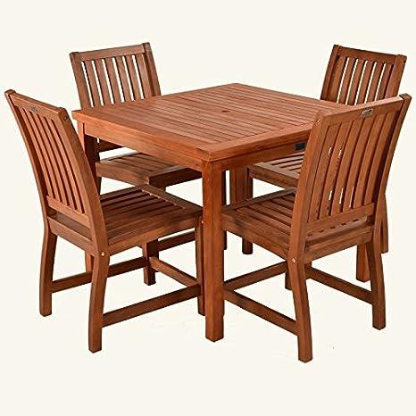 HGG Keruing jardin en bois Table et 4 chaises de salle à ...
