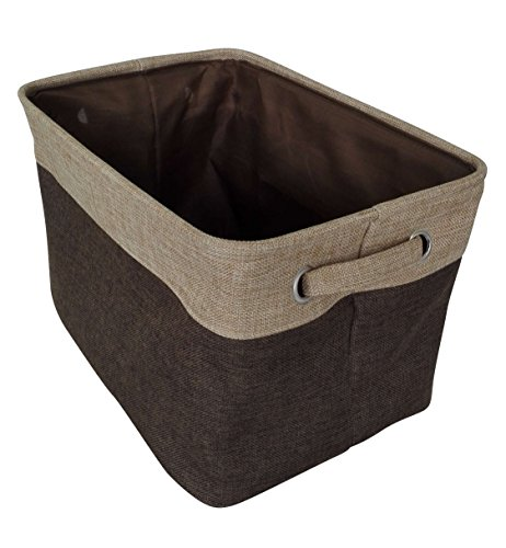 Browns Collapsible - Songsongstore Rectangular Storage Bin Organizer Decorative Collapsible Basket with Handles Toy Storage Kids Basket Baby Bin Home Organizer, Brown