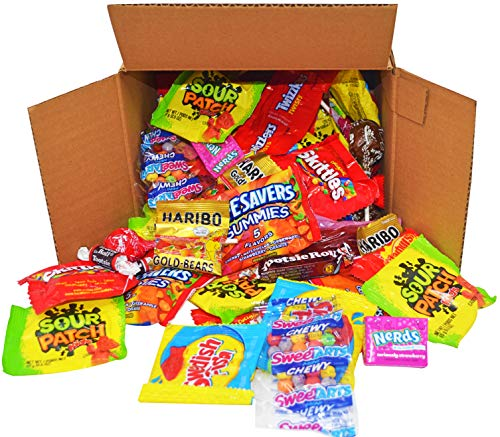 Assorted Candy Party Mix Net wt (34 oz) Skittles, Swedish Fish, Haribo, Nerds Sour Patch Kids Fruit Gummies,Twizzlers, Starburst, Tootsie Rolls, Assortment Bags for Halloween and Christmas for $<!--$13.99-->