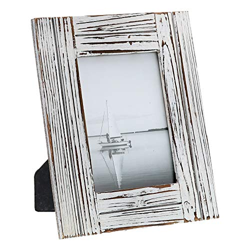 """(Barnyard Designs Rustic Farmhouse Distressed Picture Frame - White Wood Photo Frame 5"""" x)"""