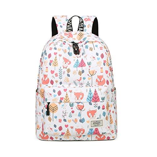 Joymoze Waterproof Leisure Student Backpack Cute Pattern School Book Bag for Girls Fox 841