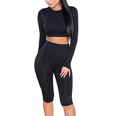 Amilia Womens Sexy Long Sleeve Crop Tops High Waist Leggings 2 Piece Bodycon Set Casual Outfit Tracksuit at Women's Clothing store