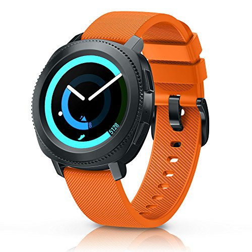 ANCOOL Compatible Gear Sport Band Replacement 20mm Silicone Watch Band Compatible Samsung Gear Sport/Galaxy Watch (42mm)/Ticwatch E/Ticwatch 2/Vivoactive 3 Watch - Large Orange