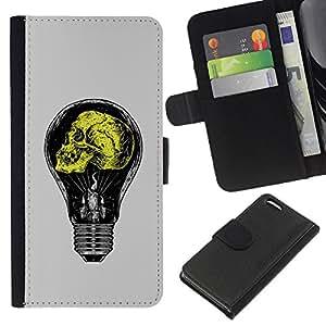 Stuss Case / Funda Carcasa PU de Cuero - Gris claro amarillo bulbo de la idea Amarillo - Apple Iphone 5C