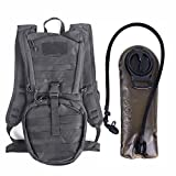 Tactical Hydration Pack Backpacks with 2.5L Bladder for Hiking, Biking, Running, Walking and Climbing (BLACK)