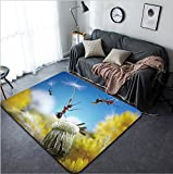 Vanfan Design Home Decorative 97959398 ants flying away with crafty umbrellas - dandelion seeds ant tales Modern Non-Slip Doormats Carpet for Living Dining Room Bedroom Hallway Office Easy Clean Footc