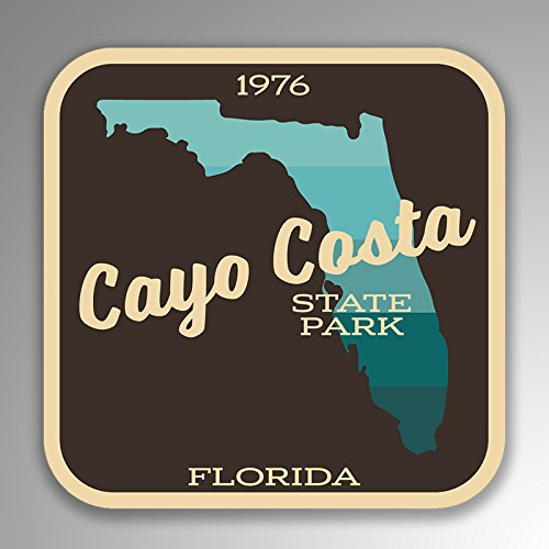 JMM Industries Cayo Costa State Park Florida Vinyl Decal Sticker Retro Vintage Look 2-Pack 4-inches by 4-inches Premium Quality UV Protective Laminate SPS027