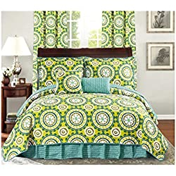 All American Collection New 6pc Printed Reversible Bedspread Set with Dust Ruffle (QUEEN 6PC, BLUE-GREEN/ LIME GREEN)